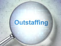 Finance concept: Outstaffing with optical glass. Finance concept: magnifying optical glass with words Outstaffing on digital background, 3D rendering Royalty Free Stock Photos
