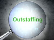 Finance concept: Outstaffing with optical glass. Finance concept: magnifying optical glass with words Outstaffing on digital background, 3D rendering Royalty Free Stock Photo