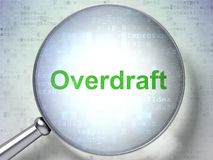 Finance concept: Overdraft with optical glass. Finance concept: magnifying optical glass with words Overdraft on digital background, 3D rendering Royalty Free Stock Photography