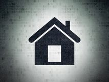 Finance concept: Home on Digital Data Paper background. Finance concept: Painted black Home icon on Digital Data Paper background Royalty Free Stock Images