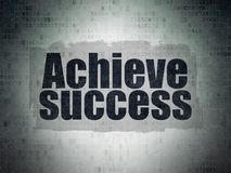 Finance concept: achieve success on digital data paper background. Finance concept: painted black text achieve success on digital data paper background with Royalty Free Stock Photos