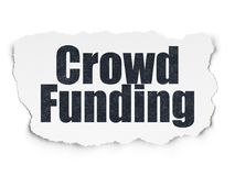 Finance concept: Crowd Funding on Torn Paper background. Finance concept: Painted black text Crowd Funding on Torn Paper background with  Hand Drawn Business Stock Images