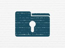 Finance concept: Folder With Keyhole on wall background. Finance concept: Painted blue Folder With Keyhole icon on White Brick wall background Stock Photography