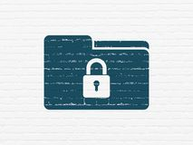 Finance concept: Folder With Lock on wall background. Finance concept: Painted blue Folder With Lock icon on White Brick wall background Royalty Free Stock Image