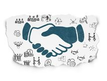 Finance concept: Handshake on Torn Paper background. Finance concept: Painted blue Handshake icon on Torn Paper background with  Hand Drawn Business Icons Royalty Free Stock Images