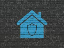 Finance concept: Home on wall background. Finance concept: Painted blue Home icon on Black Brick wall background with Scheme Of Binary Code Stock Photos