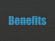 Finance concept: Benefits on wall background. Finance concept: Painted blue text Benefits on Black Brick wall background Royalty Free Stock Images