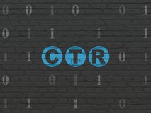 Finance concept: CTR on wall background. Finance concept: Painted blue text CTR on Black Brick wall background with Binary Code Royalty Free Stock Photo