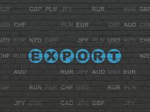 Finance concept: Export on wall background. Finance concept: Painted blue text Export on Black Brick wall background with Currency Stock Photos