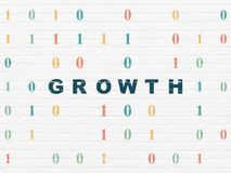 Finance concept: Growth on wall background. Finance concept: Painted blue text Growth on White Brick wall background with Binary Code Royalty Free Stock Photo