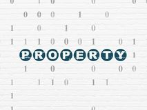 Finance concept: Property on wall background. Finance concept: Painted blue text Property on White Brick wall background with Binary Code Stock Photos