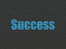 Finance concept: Success on wall background. Finance concept: Painted blue text Success on Black Brick wall background Stock Images