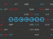 Finance concept: Success on wall background. Finance concept: Painted blue text Success on Black Brick wall background with Currency Stock Images