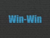 Finance concept: Win-Win on wall background. Finance concept: Painted blue text Win-Win on Black Brick wall background Stock Photo