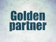Finance concept: Golden Partner on Digital Data Paper background. Finance concept: Painted blue word Golden Partner on Digital Data Paper background Stock Image