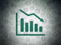 Finance concept: Decline Graph on Digital Data Paper background. Finance concept: Painted green Decline Graph icon on Digital Data Paper background with Scheme Stock Photography