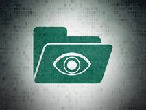 Finance concept: Folder With Eye on Digital Data Paper background. Finance concept: Painted green Folder With Eye icon on Digital Data Paper background Stock Photo