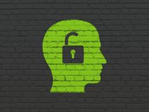 Finance concept: Head With Padlock on wall background. Finance concept: Painted green Head With Padlock icon on Black Brick wall background Royalty Free Stock Photos