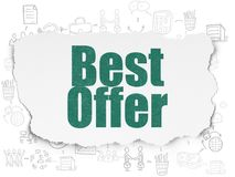 Finance concept: Best Offer on Torn Paper background. Finance concept: Painted green text Best Offer on Torn Paper background with Scheme Of Hand Drawn Business Royalty Free Stock Photo