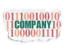 Finance concept: Company on Torn Paper background. Finance concept: Painted green text Company on Torn Paper background with  Binary Code Stock Photography