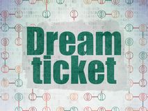 Finance concept: Dream Ticket on Digital Data Paper background. Finance concept: Painted green text Dream Ticket on Digital Data Paper background with  Scheme Of Stock Images