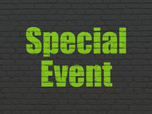 Finance concept: Special Event on wall background. Finance concept: Painted green text Special Event on Black Brick wall background Stock Photography