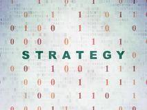 Finance concept: Strategy on Digital Data Paper background. Finance concept: Painted green text Strategy on Digital Data Paper background with Binary Code Royalty Free Stock Images