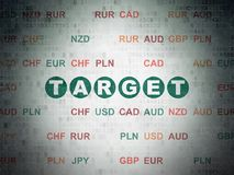 Finance concept: target on digital data paper background. Finance concept: painted green text target on digital data paper background with currency Royalty Free Stock Photo