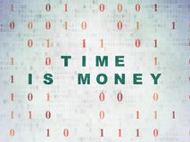 Finance concept: Time Is money on Digital Data Paper background Stock Photos