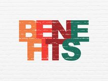 Finance concept: Benefits on wall background. Finance concept: Painted multicolor text Benefits on White Brick wall background Stock Photo