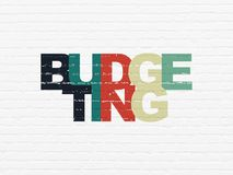 Finance concept: Budgeting on wall background. Finance concept: Painted multicolor text Budgeting on White Brick wall background Royalty Free Stock Images