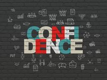 Finance concept: Confidence on wall background. Finance concept: Painted multicolor text Confidence on Black Brick wall background with  Hand Drawn Business Royalty Free Stock Photo