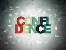 Finance concept: Confidence on Digital Data Paper background. Finance concept: Painted multicolor text Confidence on Digital Data Paper background with  Hand Stock Photography