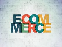 Finance concept: E-commerce on Digital Data Paper background. Finance concept: Painted multicolor text E-commerce on Digital Data Paper background stock images