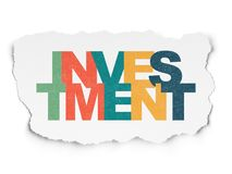 Finance concept: Investment on Torn Paper background. Finance concept: Painted multicolor text Investment on Torn Paper background Royalty Free Stock Photos