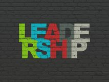 Finance concept: Leadership on wall background. Finance concept: Painted multicolor text Leadership on Black Brick wall background Stock Images