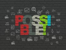 Finance concept: Possible! on wall background. Finance concept: Painted multicolor text Possible! on Black Brick wall background with  Hand Drawn Business Icons Royalty Free Stock Photos