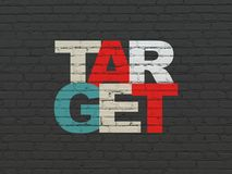Finance concept: Target on wall background. Finance concept: Painted multicolor text Target on Black Brick wall background Royalty Free Stock Photo