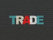 Finance concept: Trade on wall background. Finance concept: Painted multicolor text Trade on Black Brick wall background Royalty Free Stock Photos