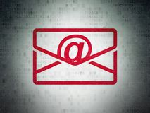 Finance concept: Email on Digital Data Paper background. Finance concept: Painted red Email icon on Digital Data Paper background Royalty Free Stock Photography