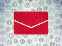 Finance concept: Email on Digital Data Paper background. Finance concept: Painted red Email icon on Digital Data Paper background with Scheme Of Binary Code Royalty Free Stock Image