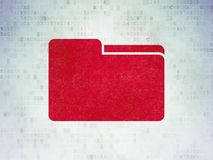 Finance concept: Folder on Digital Data Paper background. Finance concept: Painted red Folder icon on Digital Data Paper background Stock Photography