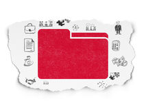 Finance concept: Folder on Torn Paper background. Finance concept: Painted red Folder icon on Torn Paper background with  Hand Drawn Business Icons Stock Photos