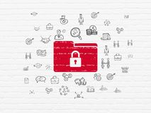 Finance concept: Folder With Lock on wall background. Finance concept: Painted red Folder With Lock icon on White Brick wall background with  Hand Drawn Business Stock Images