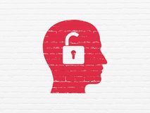 Finance concept: Head With Padlock on wall background. Finance concept: Painted red Head With Padlock icon on White Brick wall background Stock Image