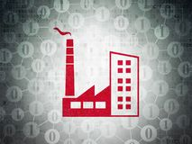 Finance concept: Industry Building on Digital Data Paper background. Finance concept: Painted red Industry Building icon on Digital Data Paper background with Stock Image