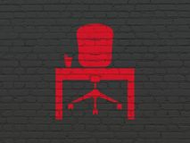 Finance concept: Office on wall background. Finance concept: Painted red Office icon on Black Brick wall background Royalty Free Stock Photography
