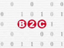 Finance concept: B2c on wall background. Finance concept: Painted red text B2c on White Brick wall background with Binary Code Royalty Free Stock Photos