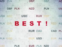 Finance concept: Best! on Digital Data Paper background. Finance concept: Painted red text Best! on Digital Data Paper background with Currency Stock Photos