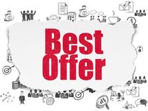Finance concept: Best Offer on Torn Paper background. Finance concept: Painted red text Best Offer on Torn Paper background with  Hand Drawn Business Icons Royalty Free Stock Photography